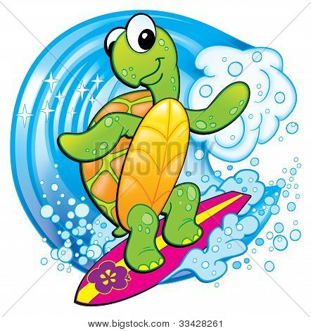 Tropical Turtle Surfing Cartoon Psd