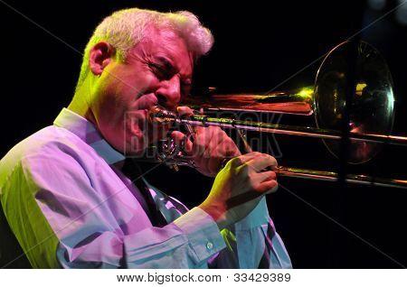 Trombonist plays live