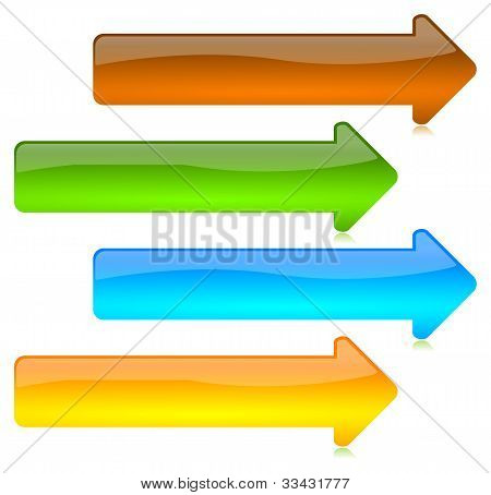 Colored And Glossy Arrows Buttons
