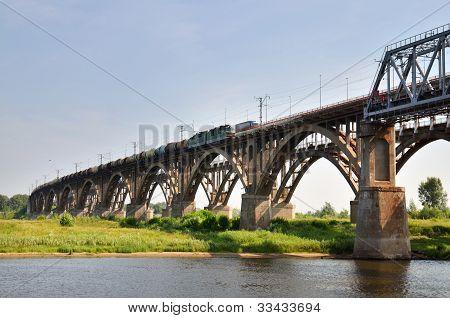 Big Bridge Through The River Volga In Russia