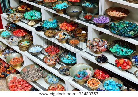 Traditional Eastern Jewelery Stones On A Street Market