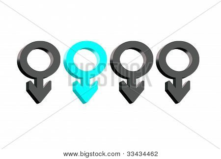 sex symbol of male on isolated white