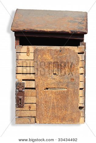 Vintage Wooden Dropbox With Clipping Path