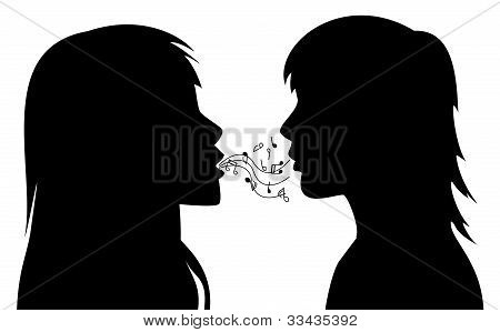 Vector Silhouettes Of Two Young Women