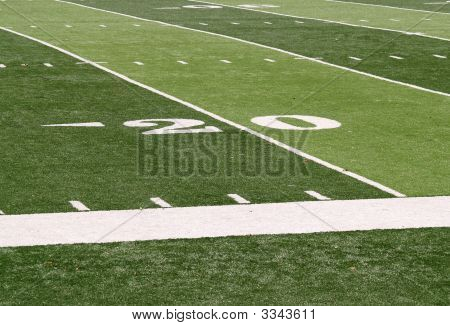 20 Yard Line On A Footballfield