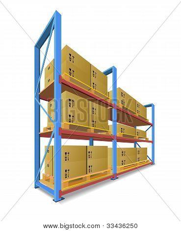 Storage Racks With Boxes.