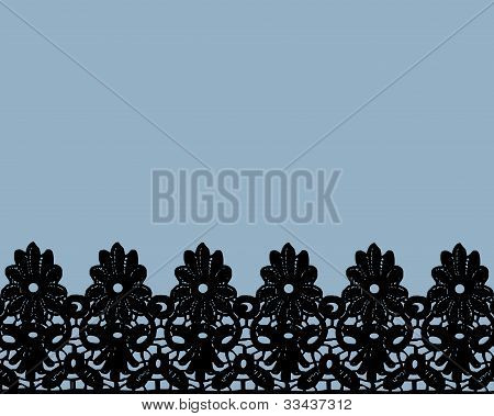 Black Lace on blue background