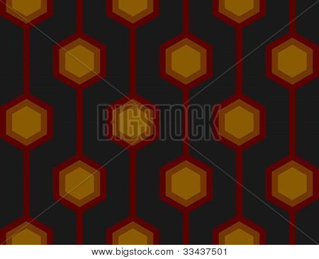 Retro Hexagons Red Seamless Tile
