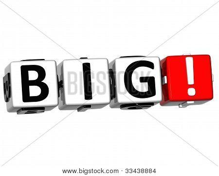 3D Big Button Click Here Block Text