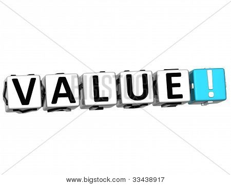 3D Value Button Click Here Block Text