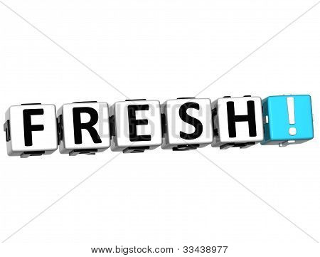 3D Fresh Button Click Here Block Text