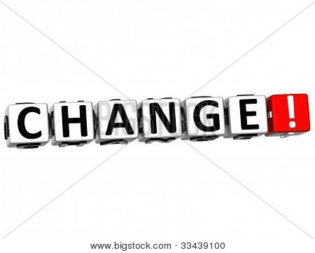 3D Change Button Click Here Block Text