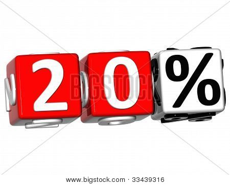 3D 20 Percent Button Click Here Block Text