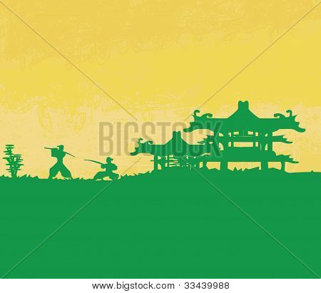 old paper with Samurai silhouette , vector illustration