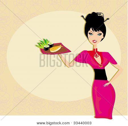 beautiful Asian girl enjoy sushi , vector illustration
