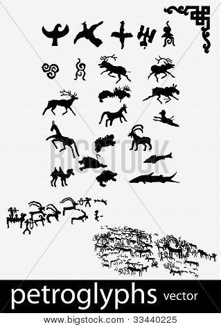 Petroglyphs and ethnic symbols