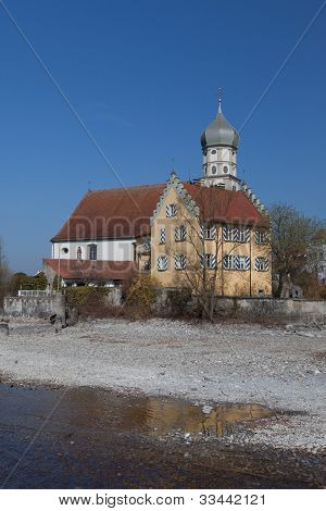 Wasserburg at the lake constance germany with church st georg