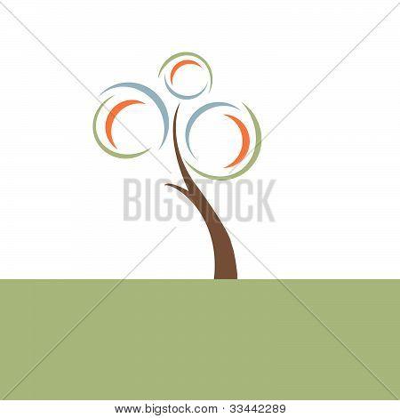Retro Tree Illustration