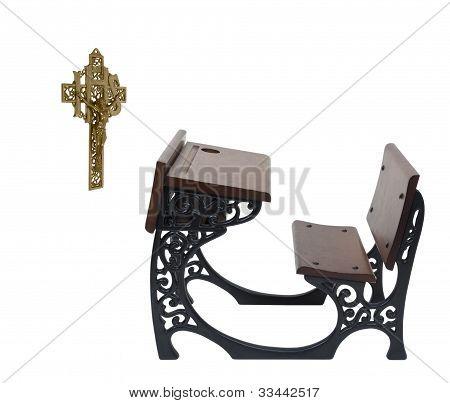 Parochial School Desk And Crucifix