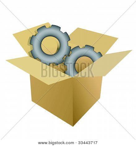 cardboard box gear illustration design over white