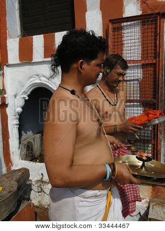 Brahmin Priests Of Shiva Prepare Sacred Fire For Ceremonies