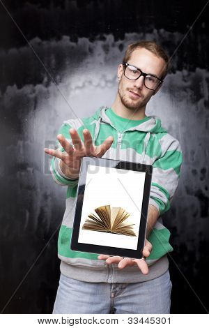 Digital Library - Good Looking Smart Nerd Man With Tablet Computer