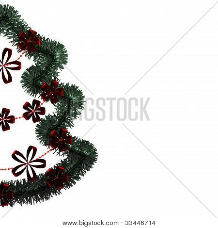a half christmas wreath in isolate background