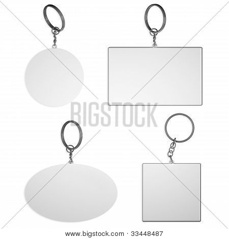 Empty White Key Rings On Isolated Background
