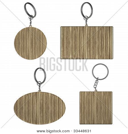 Empty Wooden Key Rings On Isolated Background