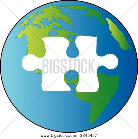 Earth With Piece Of Puzzle Missing