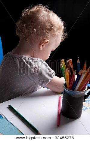 Baby Drawing With Pencils