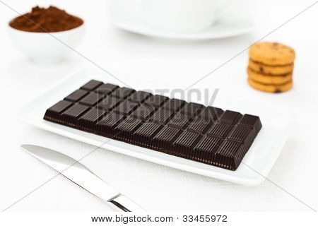 Chocolate Dark Tablet, Cocoa, Cookies On White Tablecloth