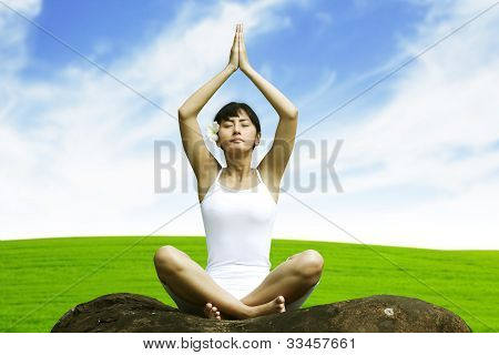 Beautiful Woman Posing Yoga