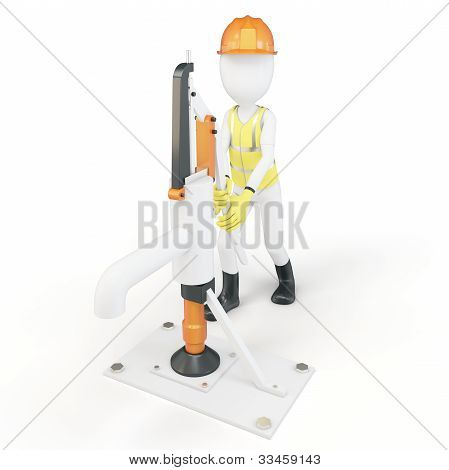 3D Man With Manual Water Pump