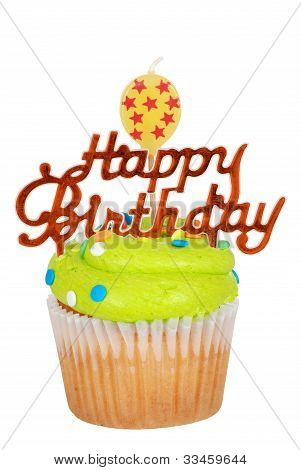 Green birthday cupcake with balloon candle
