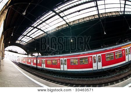 Central railway station In Wiesbaden With Trains And A Beautiful Glass Window In The Ceiling