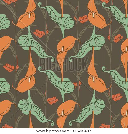 Retro Seamless Pattern With Lily