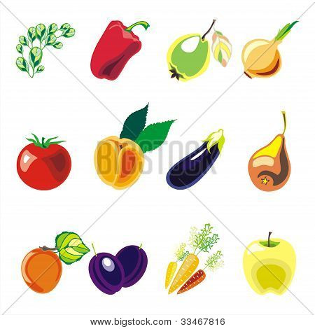 fruits and vegetablesvector set