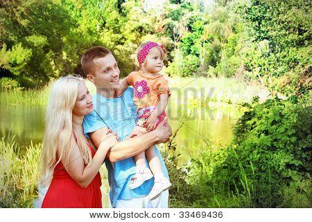 Happy Family Having Fun Outdoors, Looking In Happy Future