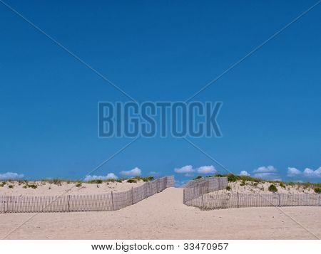 Empty Beach And Blue Sky