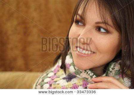 Beautiful Charming Caucasian Woman Sitting