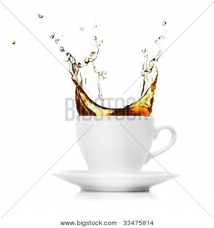 coffee creating splash