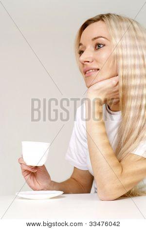 Great Blonde Girl Sitting