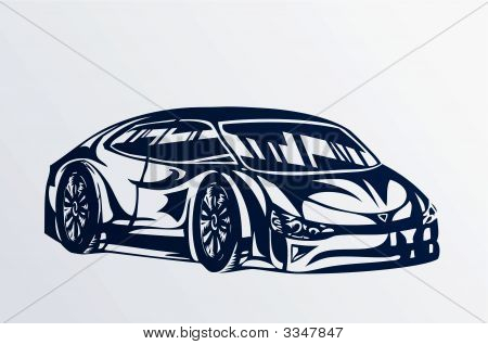 Blue Sports Car Sketch