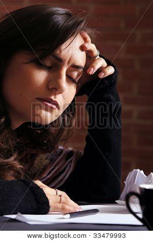 Sad Girl Thinking With List