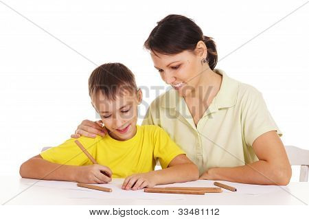 Mom Drawing With Son