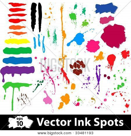 Ink and brush spots. Vector illustration