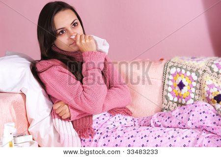 Sick  Girl At Bed