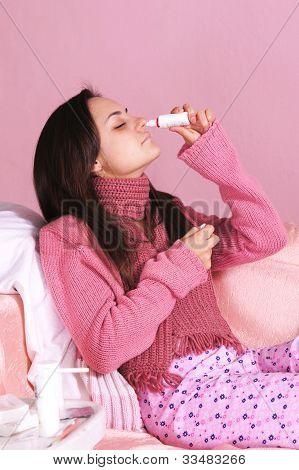 Ill Girl At Bed