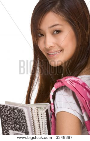 Asian College Student With Backpack And Notebooks
